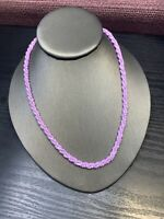 Vintage Wide Woven Twisted Lavender Purple Seed Bead Bib Statement Necklace 18""
