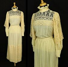 80s Vintage Victorian High Neck Dress 2 Piece Size Small