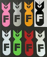 1 NEW COLORED F BOMB CHEVY FORD HONDA VW DODGE MAZDA LOGO DECAL STICKER EMBLEM