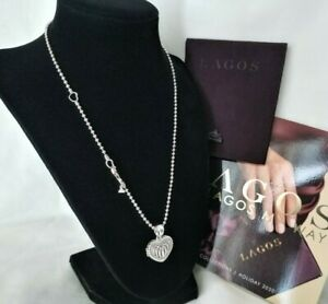 LAGOS - SIGNATURE CAVIAR Heart Locket Pendant Chain Necklace - Brand New!