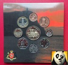 2006 la isla de man IOM Manx decimal Set 9 Monedas Colección Torre De £ 2 £ 5 Laxey rueda