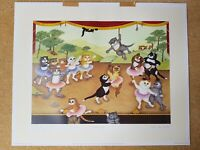 """Fine Art Print Linda Jane Smith """"Curtain Up"""" Limited Edition 48/750 Signed Cats"""