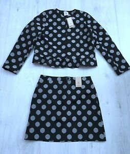 TU LADIES BLACK AND WHITE SPOTTY JACKET AND SKIRT SUIT SIZE 14 - 16 BNWT