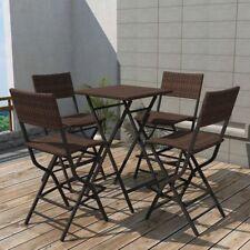 vidaXL Outdoor Dining Set 5 Pieces Poly Rattan Brown Folding Bar Table Chairs