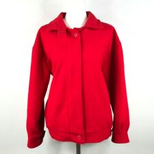 Vintage Woolrich Womens M Red Wool Lined Medium Weight Zip Jacket Made in USA