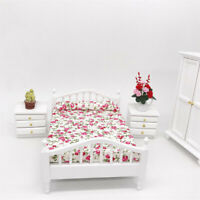 Dollhouse Wooden Flower Queen Bed 1:12 Miniature Furniture Bed for Bedroom