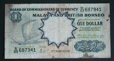 BB08004 Malaya 1959 1 dollar Kapal Layar Fine with hole