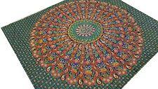 Motifs indiens Paons Vert Couvre-lit Mandala Jeté de lit Tenture Batik Inde Boho