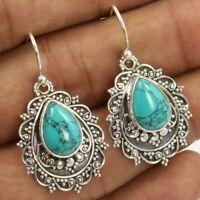 Boho Women Tibetan 925 Silver Turquoise Dangle Drop Hook Earrings Jewelry Gift