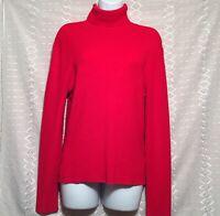BCBG MAXAZRIA Sweater Turtle Neck Top Pullover Knit Rib Slim Fit Red Rayn size L