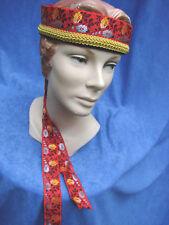 Vintage Ribbon Hat Headdress ETHNIC FOLK EC Velvet Red Dance S