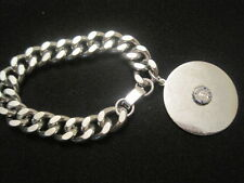 Vintage Heavy Weight Silver plated Charm Bracelet with Large Charm