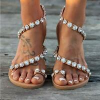 New Women String Bead Beach Shoes Female Comfortable Flat Heels Sandals Big size