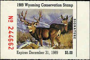 Wyoming #6 1989 État Canard Tampon Mule Chevreuil Par Dave Wade