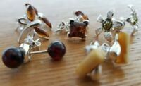 WHOLESALE JOB LOT 5 Baltic Amber & 925 Solid Sterling Sterling Silver EARRINGS