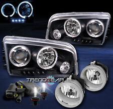2006-2009 DODGE CHARGER HALO LED BLACK PROJECTOR HEAD LIGHT+CHROME FOG+8000K HID