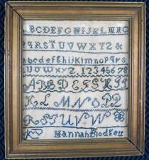 c. 1820's-1830's Folk Art Needlepoint Sampler Signed Hannah
