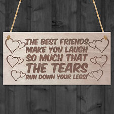Friend Friendship Plaque Sign Funny Wooden Gift BEST FRIENDS TEARS Shabby Chic