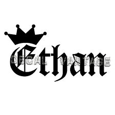 Ethan Vinyl Sticker Decal Crown Name Old English - Choose Size & Color