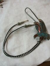 Vintage Navajo Silver Bennett Bolo Tie turquoise coral Eagle