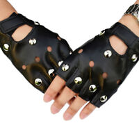 Cuir sans doigts gants courts rivets noirs Stud demi-doigts mitaines Fash MO