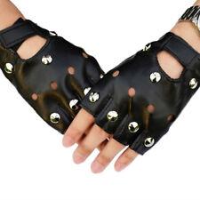 Leather Fingerless Short Gloves Black Rivets Stud Half Finger Mittens Fashion FG