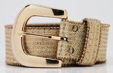 Vintage 1980s ELITE Gold Sparkly Belt Size MED w/ Bright Gold Colored Buckle