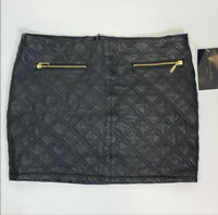 Zara Womens Quilted Lambskin Leather Skirt Size S Mini Zip Up Black Gold NEW