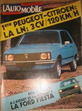 L'automobile N° 362 1976 Peugeot Citroën LN 3CV Ford Fiesta Peugeot 104 Matra