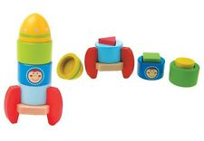Wooden Space Ship Rocket Standing Stacking Shape Puzzle- Educational Boy BabyToy