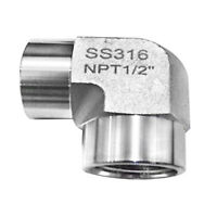 """HFS(R) Stainless Steel 304 FORGED Pipe Fitting, ELBOW, 1/2"""" NPT Female"""