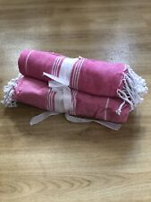 Yoga Gym 100% Cotton Towel Travel Beach Holiday Turkish Hammam Throw Pink White