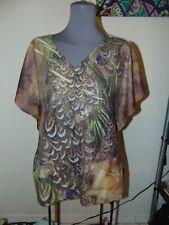 ONE WORLD BLOUSE 1X Brown Moth Print SHORT KIMONO SLEEVES V-Neck Shirt 1X NICE