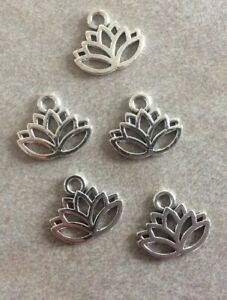 Antique Silver, Lotus Flower Charms,17x15mm,5pcs,Jewellery Making