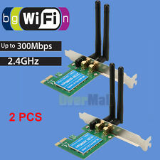 2X Wireless 300M Built-in Network PCI-1 Express WIFI Adapter Card 802.11B/G/N US