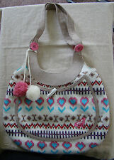 Womens Girls Roxy White Cable Knit Hobo Shoulder Bag Tote Purse 391410