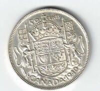 CANADA 1940 50 CENTS HALF DOLLAR GEORGE VI CANADIAN .800 SILVER COIN