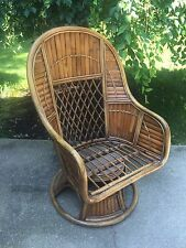 Vintage Bamboo Rattan Tropical Tiki Patio Spring Swivel Rocker Arm Side Chair