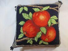 "Vtg. Dark Blue Needlepoint Peaches On Branch Pillow Cover 13.5"" x 13.5"""