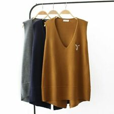 Casual Winter Warmers Clothing Ladies Vest Embroidery Decors Pullover V-neck New