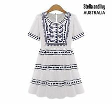 Size 10 boho peasant white smock dress womens new