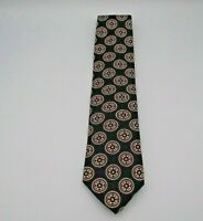 "Land's End Men's Neck Tie Blue, Red, & Tan Geometric Pattern Silk 60"" x 3.5"""