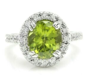 3.87 Carat Natural Peridot and Diamonds in 14K Solid White Gold Women's Ring