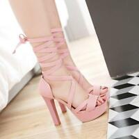 New Women's Ankle Ladies Strap Platform Block High Heel Tie Lace Up party Shoes