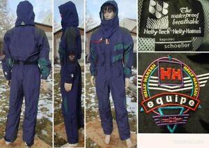 vtg 90's HELLY HANSEN equipe 1 piece ski suit waterproof KEPROTEC purple mens LG