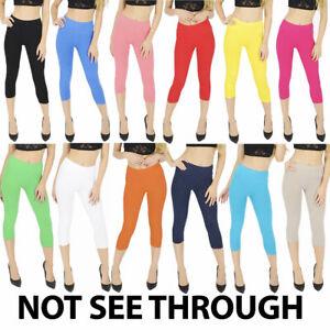 Womens Summer Cropped 3/4 Leggings Capri Length Stretchy Pants Sizes 8-24 UK