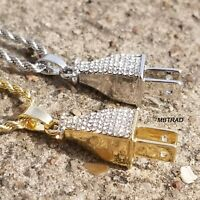 """Gold SILVER Plated  Wall Plug Hip-Hop Pendant 24"""" Rope Chain Necklace"""