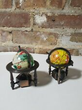 Metal stand globe pencil sharpeners. Set of 2. One made in china/other unknown.
