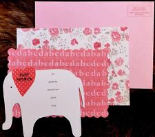 Adorable Shabby Elephant BABY SHOWER INVITES 10 New cards & Envelopes