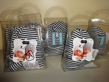 "Mud Pie Newborn Black Striped Hat Infant Baby Monogrammed Letter ""T"" Initial"